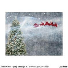 Santa Claus Flying Through a Christmas Sky Postcard