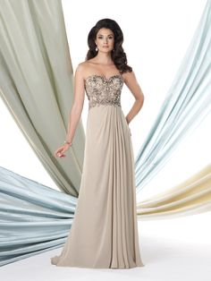 Strapless diamond chiffon A-line dress, sweetheart empire bodice encrusted with ornate hand-beaded design, side gathered skirt features a concealed side slit, sweep train, suitable for wedding guests, formal events and cocktail parties. Matching shawl and removable straps included. Sizes: 4 – 20