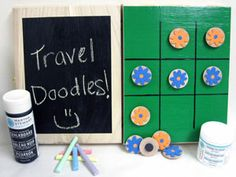 It's easy to make a personalized kids' game/storage box for travel or camp!  Make a magnetic tic-tac-toe board on one side with Martha Stewart's really cool magnetic paint.  Use chalkboard paint on the bottom to create a doodle board!  After all, what is more fun than doodling???  Keep tic-tac-toe pieces, chalk and other stuff inside.  Personalize with your choice of colors, tic-tac-toe pieces, name, etc.