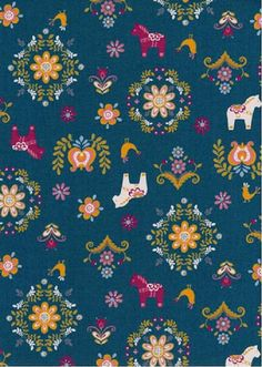 $10.95/yd = My Folklore 2 by Lecien - Dala Horse