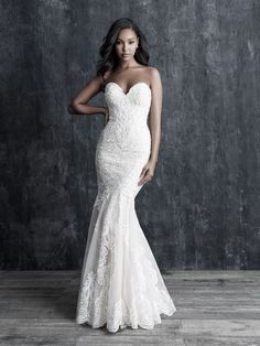 Wedding Dress by Allure Couture - Search our photo gallery for pictures of wedding dresses by Allure Couture. Find the perfect dress with recent Allure Couture photos. Western Wedding Dresses, Classic Wedding Dress, Bridal Wedding Dresses, Bridesmaid Dresses, Lace Wedding, Mermaid Wedding, Dream Wedding, Lace Mermaid, Wedding Attire