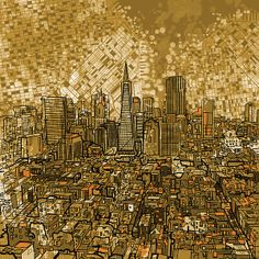 Title  San Francisco Cityscape   Artist  MB Art factory   Medium  Painting - Mixed Media