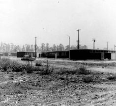 """Unknown   Description  """"Temporary"""" first buildings on the Los Angeles State College, San Fernando Valley Campus (now CSUN). 1956.  San Fernando Valley History Digital Library."""