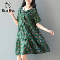 45a131cde2e1 ... Boho Vintage Print Loose Short Sleeve Buttons Round Neck Plus Size  Summer Party Short Shirt Dress Vestido De Festa from Reliable Dresses  suppliers on ...