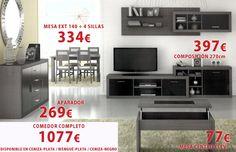 Composción de salón disponible en Ceniza-plata / Wengué-plata / Ceniza-negro. Flat Screen, Sideboard, Dining Rooms, Chairs, Budget, Black, Blood Plasma, Flatscreen, Plate Display