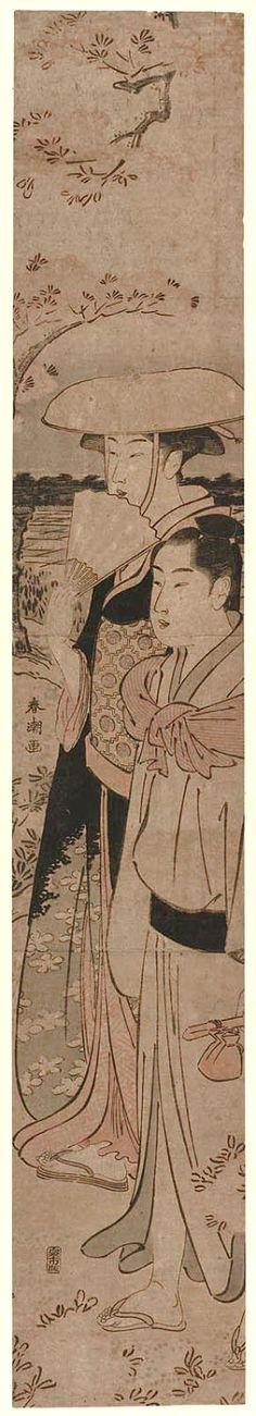 Shunsho Katsukawa / Junges Paar unter Kirschbaum