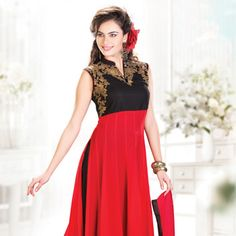 Red and Black Faux Georgette Readymade Anarkali Churidar Kameez