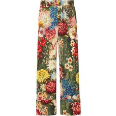 Gucci Multicolor Floral Pant (87.680 RUB) ❤ liked on Polyvore featuring pants, trousers, bottoms, black multi, flower print pants, gucci, multi colored pants, colorful pants and floral printed pants