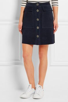 Midnight-blue suede Button fastenings through front 100% suede (Cow)  Dry clean Designer color: Navy