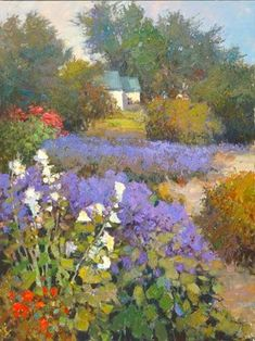 Kent Wallis was born Utah. American painter, In 1988 Kent Wallis became a member of the Society of American Impressionists. Meyer Gallery is very happy to display the color-full canvasses of Kent R. Wallis exclusively in New Mexico. Paintings I Love, Beautiful Paintings, Beautiful Landscapes, Garden Painting, Garden Art, Landscape Art, Landscape Paintings, Impressionist Paintings, Pastel Art