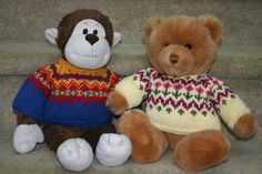 """Free Knitting Pattern for a Norwegian Teddy Bear Sweater, """"Monkster Gets Stranded"""", from my Kidsknits.com retail website.  Dale of Norway Falk yarn used in this design also available at Kidsknits.com."""