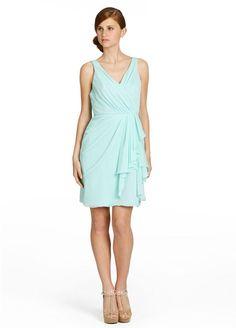 mint blue a-line sleeveless short chiffon v neck bridesmaid dress