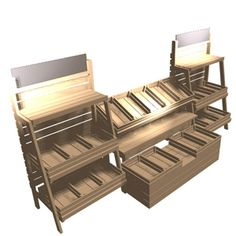 Fruit & veg display units for retail with rustic finish.