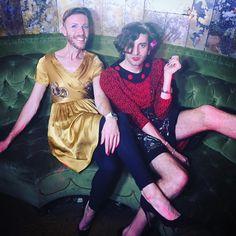 Jacob Tobia with friend Jeffrey Marsh (golden dress).