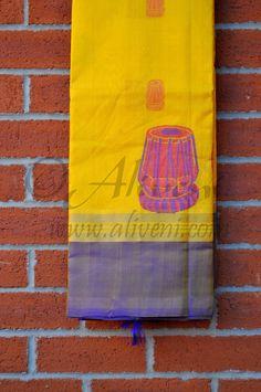 Yellow Kuppadam Saree with Unique Tabla Motifs and Blue/Zari Border
