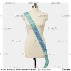 Shop Mama Mermaid White Seashells Baby Shower Sash created by GrudaBaby. Baby Shower Sash, Baby Shower Purple, Mermaid Baby Showers, Baby Mermaid, Baby Shower Supplies, Seashells, Special Occasion, Create Yourself, Girly