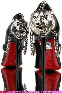 Tiger Chain Gang - black red and chrome shoes