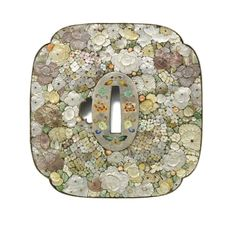 A rare shibayama inlaid 'mille-fleurs' tsuba of mokko form, each side decorated in the Shibayama style on a silver ground with a...