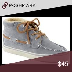 "Sperry Top-Siders ""Betty"".  Chukka Style. Your style has some edge, so take a walk on your wild side with the edgier, trend-savvy update to the classic: the Betty from Sperry Top-Sider! ; Chukka style silhouette with suede upper and classic Sperry stitch and lacing. Premium suede lined with super soft Teddy fleece for warmth and comfort all season long. Wave-Siping with razor cutting delivers ultimate wet/dry traction with non-marking outsole. ONLY WORN A FEW TIMES!  Blue/Grey. Sperry…"