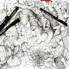 A work-in-progress Coloring page from 'Imaginary Botanicals', an adult coloring book by Antonina Kalinina