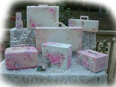 Flea Market Shabby Chic Furniture | How To Paint Vintage Chic n Shabby Roses Suitcases by CollageSheet