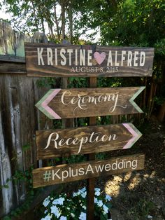 Directional Wedding Signs, Ceremony Sign, Reception Sign, Custom Wedding Signs, Rustic Wedding Signs by OneCoopedChick on Etsy