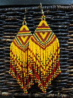 """Autumn Jubilee"" Native American Inspired Bead Earrings"