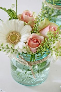 These 12 Gorgeous DIY Mason Jar Flower Arrangements are perfect all year around. Great floral on the cheap. Make your home beautiful, fresh and inviting by adding pops of colour and lush floral combinations in gorgeous Mason Jars! Mason Jar Flower Arrangements, Mason Jar Flowers, Floral Arrangements, Table Arrangements, Flower Jars, Flower Table, Cactus Flower, Beautiful Flower Arrangements, Diy Wedding Flower Arrangements