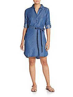 Designer Clothes, Shoes & Bags for Women Collared Shirt Dress, Long Shirt Dress, Collar Dress, Hi Low Dresses, Blue Dresses, Long Back Dress, Blue High Low Dress, Shirtdress, Trina Turk