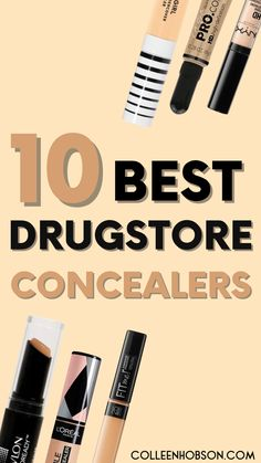 Top 10 best drugstore concealers for covering dark under eye circles and blemishes. #best #drugstore #concealer #makeup