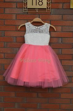 Lovely Ivory Lace Coral Pink Tulle Flower Girl by Valiantwang