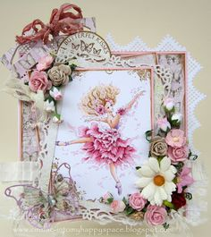 """Image is called """"Aurora line"""" and it is drawn by the artist Mitzi Sato-Wiuff , sentiment is """"Whimsy Stamps"""",  papers are Maya Design from the last """"Vintage Spring basics"""" collection, dies - Magnolia Doohickeys """"So wrapped lovely"""", """"Vintage box lacing coffee"""", Spellbinder """"Decorative Label Eight"""", Memory Box """"Vivienne butterfly. Copic Markers-Skin: E0000, R000, E00, E11, R00  Hair:  E 50, E51, E 53, E33, E35, E37  Dress : R81, R83, R85, RV10 Bodice and shoes: V00, V01, V12, V15"""