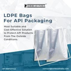 #Pharmagrade #LDPEBags are highly effective bags and commonly used in #APIPackaging industries where the products need to be protected from #moisture, #humidity, #mold and #mildew. For More Details contact@sorbeadindia.com +91 9687211144 www.ldpebag.com Moisturizer, Conditioner, Bags, Products, Moisturiser, Handbags, Bag, Gadget, Totes