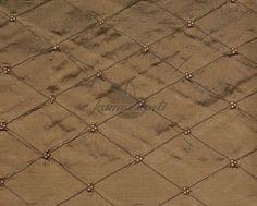Bronz Baklava Dikişli Boncuklu İpek Kumaş