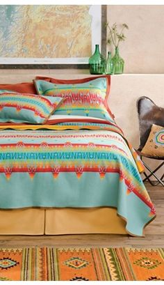 Warm inviting beds! #TheLuckyCowgirlFall  Coyoacan Blanket Collection