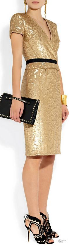Burberry London ● Sequined gold cocktail Dress ❤♔Life, likes and style of Creole-Belle ♥