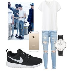 sehun inspired by cuddlytao on Polyvore featuring polyvore, fashion, style, Uniqlo, rag & bone/JEAN, NIKE and Daniel Wellington