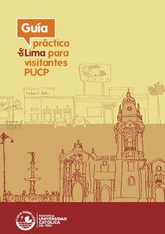 Pileta de la plaza de armas de Lima y Catedral. Ilustración para folleto de la PUCP: Guía práctica de Lima para visitantes. De César SORIA