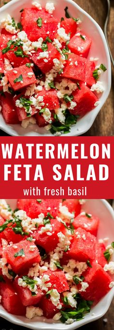 Salty sweet and refreshing watermelon feta salad iswhat you should be serving for every backyard BBQ party or picnic. Cubes of watermelon tossed with fresh basil leaves and crumbled feta is perfect summer salad. Its colourful, healthy and easy to make. Best Salad Recipes, Healthy Recipes, Pasta Recipes, Summer Salad Recipes, Soup Recipes, Vegetarian Recipes, Chicken Recipes, Healthy Chicken, Soup And Salad