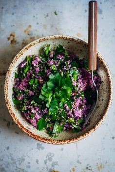 Purple Cauliflower Tabbouleh | Well and Full | #raw #vegan #recipe