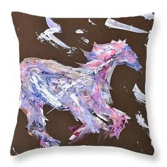 Running Horse: An acrylic painting of a horse by Kelly Goss Art printed on to throw pillows in 100% polyester or 100% cotton fabric.  Perfect to brighten up and decorate your home lounge suite or bedroom. The special gift to spice up a friend's home decor.