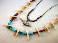 2 Bird Fetish Necklaces with Turquoise, Shell and Coral