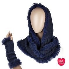 Le CHIC Hiver Real Fur Snood-Hood and Mittens Blue - Chic Sympathique