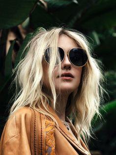 Dakota Fanning For Nylon Magazine May 2015 // wavy hair, round sunglasses & leather jacket #style #fashion #editorial