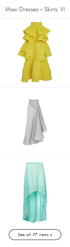 """""""Maxi Dresses + Skirts: VI"""" by jay-to-the-kay ❤ liked on Polyvore featuring maxiskirt, dresses, skirts, maxidress, maxi, high rise skirts, zip skirt, high-waist skirt, high-waisted skirts and tiered skirt"""