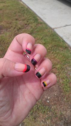 Black tip with color stripe french manicure