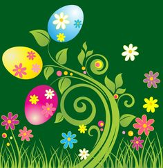 easter graphics | Easter Egg with Green Floral Vector Illustration | Free Vector ...