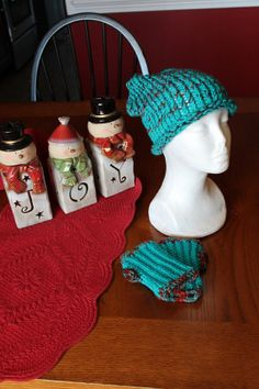Women  Hat and Fingerless Gloves  Turqoise and by SnugableTouches, $15.00