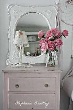 Beautifully~ What Shabby Chic Is All About. Roses, Chippy, White, Gorgeous Mirror........