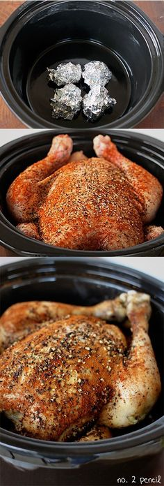 Slow Cooker Chicken - easy and delicious way to make your own rotisserie like chicken at home. #crockpot #recipe #slowcooker #easy #recipes